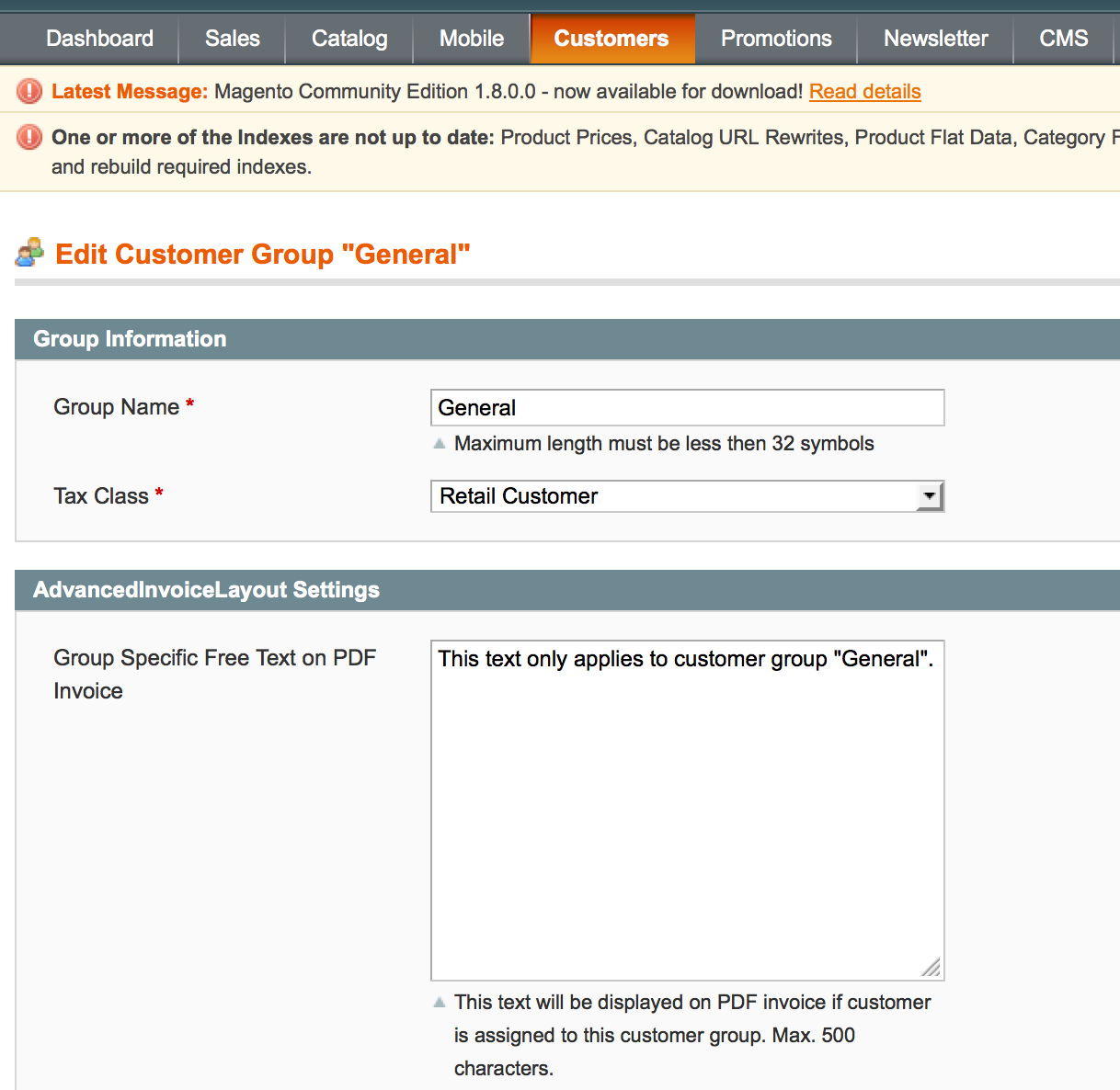 Magento Kundengruppen-Konfiguration