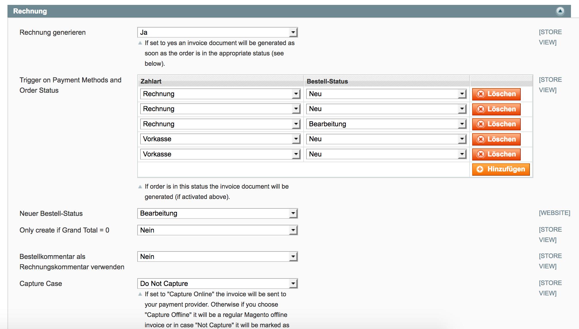 Flexible Konfiguration für Bestellstatus und Zahlungsart