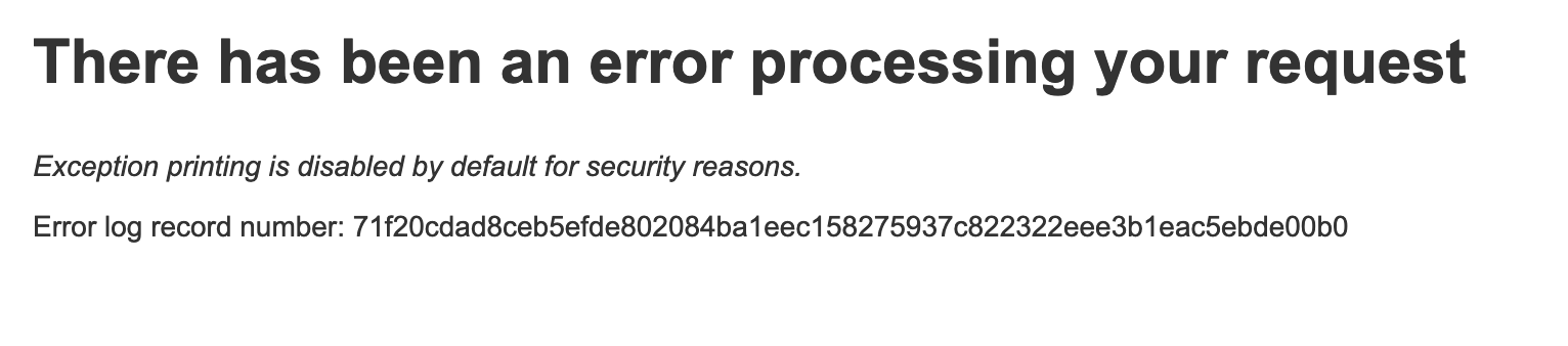 Magento: There has been an error processing your request